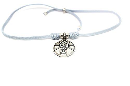 Kokomorocco Medalla Virgen del Pilar de Plata de Ley, cordón elástico, Collar Ajustable, inscripción por detrás Cuídame Siempre Regalos Originales