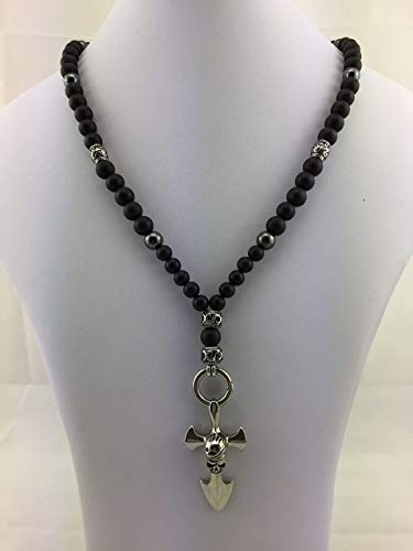 Halskette Y-Kette Rosenkranz Perlenkette BLACK Onyx, Herren Schmuck Männer Frauen Damen schwarz Perlenkette Bikerschmuck Rocker Anker Totenkopf Skull K_87 mS
