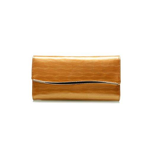 PU Piega Lunga Pelle moda donna Portafoglio borsa Ecopelle Wallet raccoglitore Pocket Portamonete Giallo