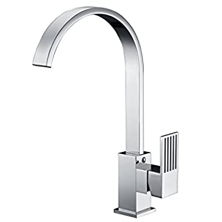 Avola Single Lever Monobloc Kitchen Sink Mixer Tap, Chrome Finish Cubic Brass Body High Arch Flat Stainless Steel Swivel Spout