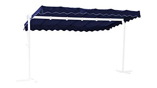 GRASEKAMP Qualität seit 1972 Ersatzdach Standmarkise Dubai Blau Raffmarkise Ziehharmonika Mobile Markise