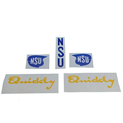 NSU Quickly N/S Aufkleber Satz, Ersatzteil Sticker oder als Tank Schriftzug Dekor. Zum Oldtimer Restaurieren von Lack und Verkleidung. Alternativ zum Motorrad Emblem