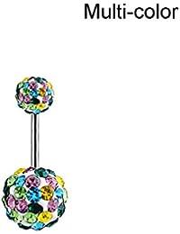 Juanya Bonita bola de cristal de diamante de imitación ombligo vientre botón cuerpo anillo…