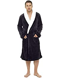 Mens Dressing Gown Luxury Super Soft Mens Fleece Robe with Hood Gowns  Bathrobe Warm and Cozy 0b615aa6e