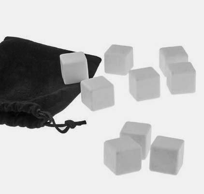 Ceramica / marmo bianco pietre del whisky. Riutilizzabili Ice Cubes agghiacciante. Un insieme di 9 con custodia.