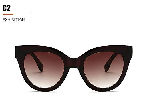 LKVNHP Trendy SunglassDamenkunststoffrahmen rote cat Eye SonnenbrilleFrauenFestivalModegg Eyewearoculosuv Protectorwtyj106 braun