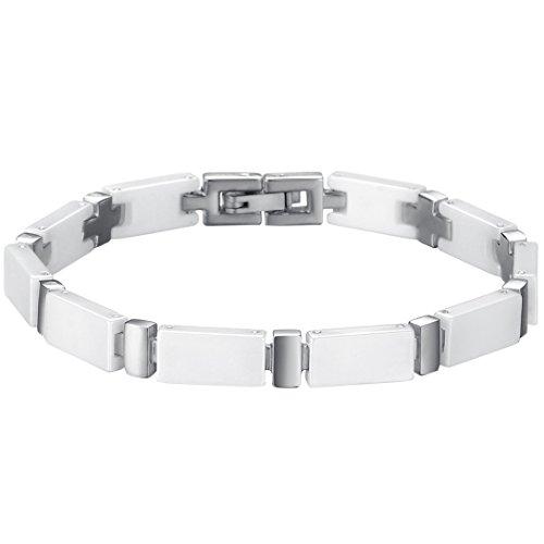 Oidea Herren Damen Armband, Exquisit Edelstahl weiss silber Keramik Armreif Armschmuck Armkette Handgelenk , 19.5cm (Keramik, Weiße Stein)