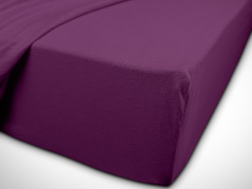 npluseins klassisches Jersey Spannbetttuch - erhältlich in 34 modernen Farben und 6 verschiedenen Größen - 100% Baumwolle, 70 x 140 cm, lila - 7