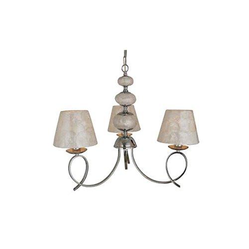 supenrova decoracion-35753053 Ampoule Chrome 3 Lumières avec boules de Nacar et écrans Nacar ampoules 3 x E14 dimensions : 54 x 47