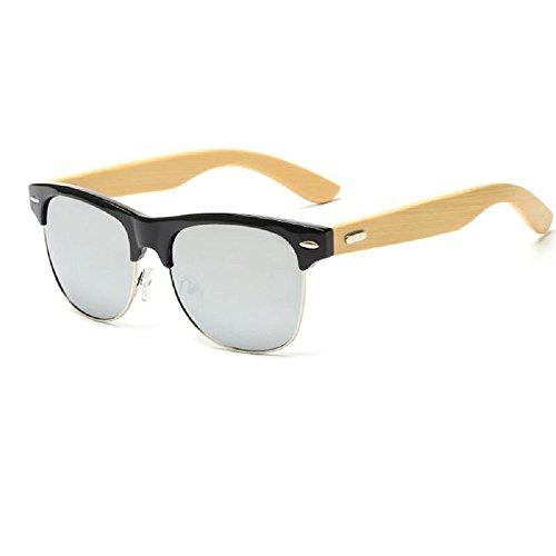 Ducomi Master Classic - Unisex Sonnenbrille Retro Style mit Bambus Wooden Poller - UV400 Schutz (Black, Blue)