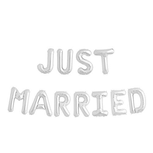 ballonfritz Luftballon Just Married -Schriftzug in Silber - XXL Folienballon als Hochzeits Deko, Begrüßung, Party Geschenk, Fotorequisite Oder Empfang-Überraschung