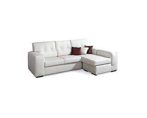 Esteamobili - divano angolare tessuto 4 posti moderno salotto vari colori prodotto italiano - erminiaangolo - ecopelle bianco