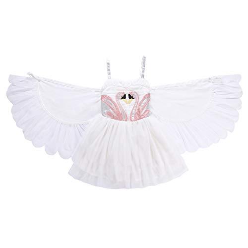 (ShiyiUP Weiß Mädchen Kleider Schwan Strickrei Kinder Kostüm mit Flügel,120)