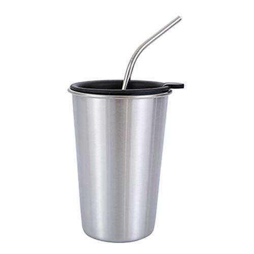 Sweet&rro17 Travel Coffee Drinking Mug Edelstahl mit Stroh Deckel | Reisebecher Kaffeebecher 500 ml(Silber)