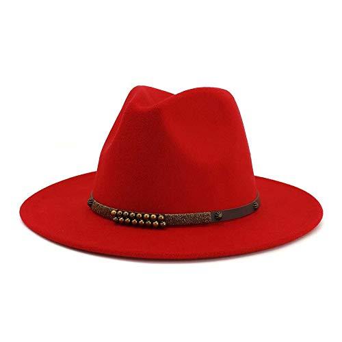 Schattenschützen Breiter Krempe Wollfilz Jazz Hüte for Männer Frauen British Classic Party Formale Panama Women's hat Floppy Hat Schattenschützen (Farbe : Rot, Größe : 56-58) Red Hats Classic Hut
