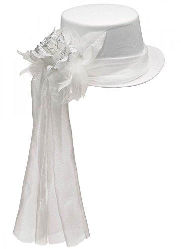 Eleganter Damen Zylinder mit Rose und Federn Gr. 54-58 Hut Halloween Geist, ()
