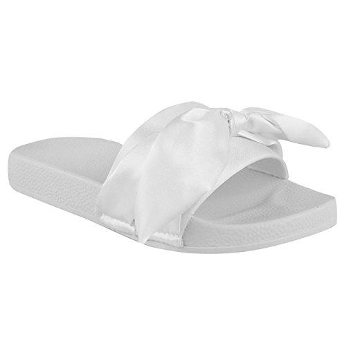 Damen NEU flach bequem Schleife ohne Bügel SOMMER SCHIEBER Pantolette Sandalen Schuhe Größe Weiß Satin