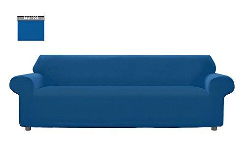 Copridivano genius tinta unita, per divano xl 4 posti, colore blu 1002