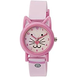 Tikkers Unisex Quartz Watch with Baby Pink Dial Analogue Display and Pink Silicone Strap TK0087