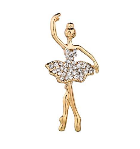 AILUOR Damen Kristall-Balletttänzer-Brosche, Schmuck -Tone Tanzen Ballerina- Art Deco Zubehör Revers Pin Corsage Gold Einstellbar