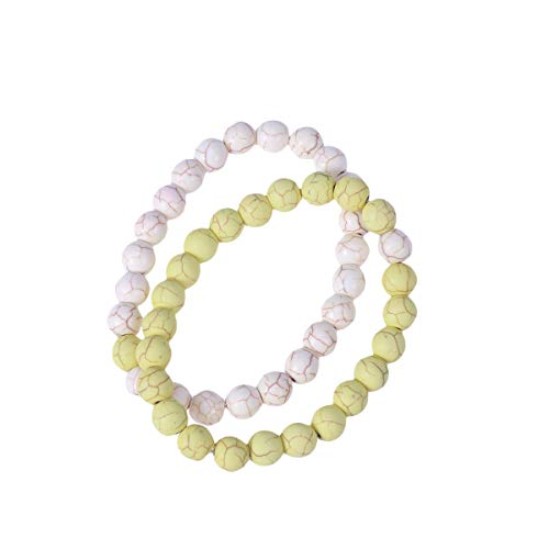 2Pcs 8mm Agate Gemstone Beaded Bracelet Round Natural Beads Lovers BRAC Jewelry (Yellow and White)