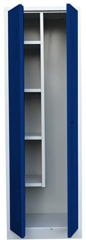 XL Flügeltürschrank Kleiderschrank Stahl Besenschrank Putzschrank PutzSpind Putzmittelschrank 515721 blau