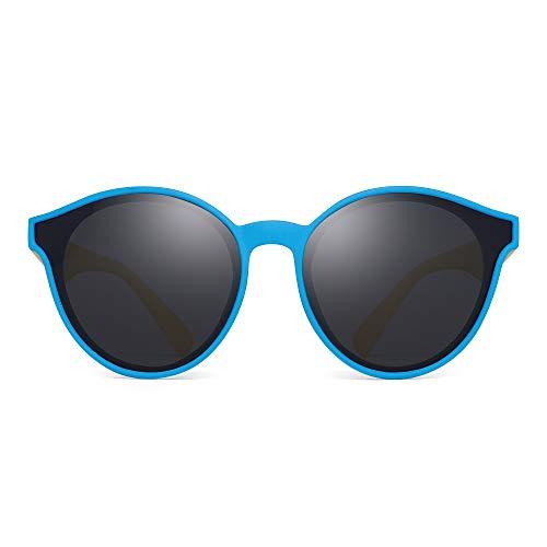 JM Kinder Polarisiert Sonnenbrillen Unzerbrechlich Runden Gummi Rahmen Mädchen Jungs Alter 3-6(Blauer Gelber Rahmen/Polarisierte Graue Linse)