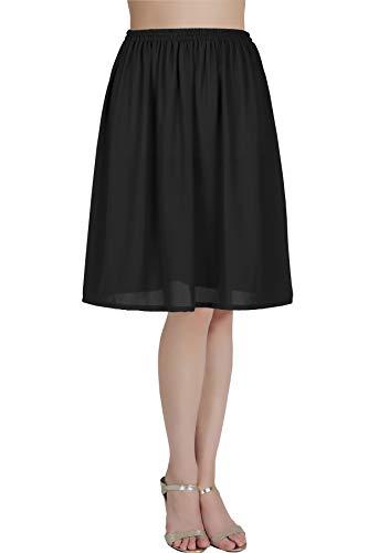 BEAUTELICATE Damen Unterrock Satin/Chiffon Halbrock Knielang Petticoat Crinoline Vintage Antistatisch Underskirt Schwarz S 40CM -