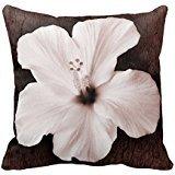 Blanc Hawaiian Hibiscus Sépia Tropical Fleur Couvre-lit Taie d'oreiller 45,7x 45,7cm