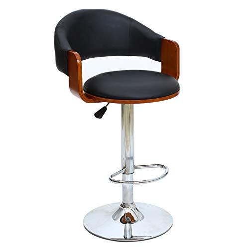 BAR STOOL High Swivel Chair, Drehbar/Café / Theke, Komfortables Sitzen, Drehen/Anpassen, Holz + Leder + Metall, Schwarz @Greawei