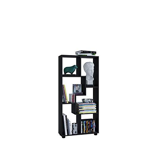 AISEN Regal PISA B mit 6 Fächern, Farbe Schwarz, Maße 60 x 116,5 x 20 cm