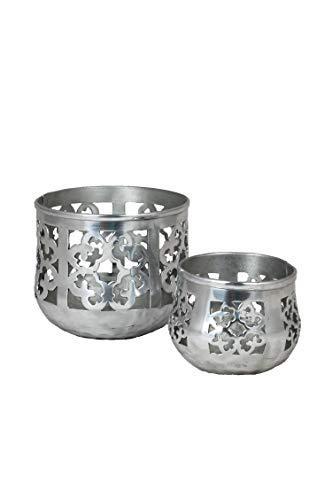 2er Set Orientalisches Windlicht Schwimmlicht Orientalisch Afat 13cm Groß Silber | Orientalische Teelichthalter Schwimmschale Silberfarben | Marokkanische Windlichter aus Metall als Party Dekoration