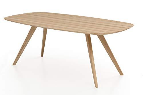Woodlive Massivholztisch Esstisch massiv in Kernbuche geölt, moderner Wohnzimmertisch in Bootsform (220x100 cm)