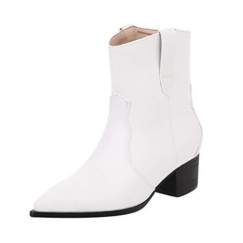 Fenverk Damen Schuhe GefüTtert Winterstiefel/Palladium Damenschuhe/Barfussschuhe Winter/Kurzschaft Stiefel Warm Ankle Stiefeletten rutschfeste Worker Boots Gr.35-45(C Weiß,41 EU)