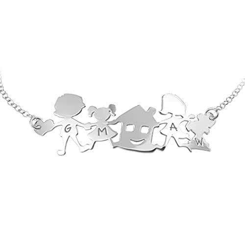 Bracciale con famiglia in argento 925 con catena robusta e resistente.