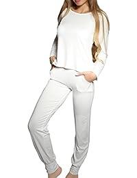 2231f566c595a5 Damen Langarm Pyjama Schlafanzug Set 2tlg. Sandra (XS - 2XL)
