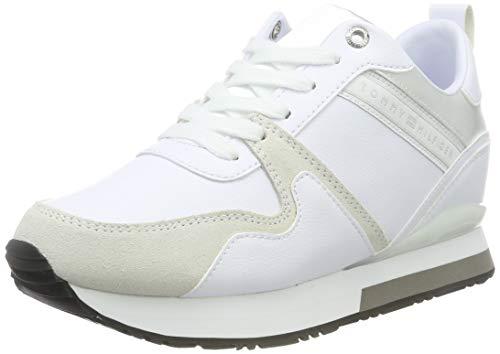 Tommy Hilfiger Damen Iridescent Wedge Sneaker, Weiß (White 100), 39 EU Weiße Wedge Sneakers