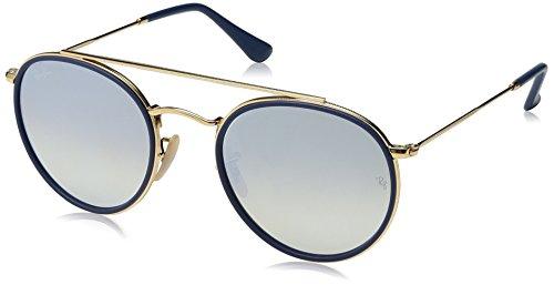 RAYBAN JUNIOR Unisex-Erwachsene Sonnenbrille Round Double Bridge, Gold/Gradientbrownmirrorsilver, 51