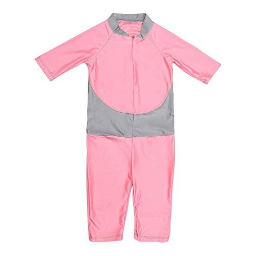 Körper Kostüm Schwimmen Langer - Baby Mädchen Kurzarm Bademode Kind einteiliger Badeanzug Bodysuit mit Reißverschluss Sommer Schutzkleidung für Kinder(XL-Rosa)