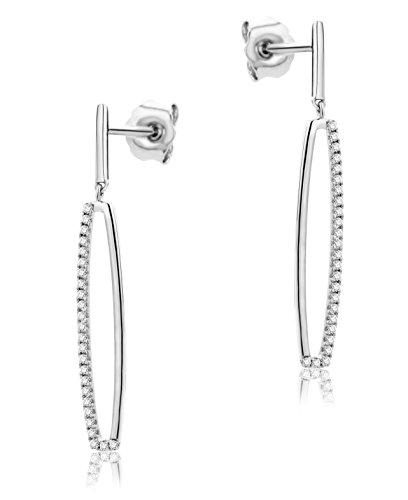 Orovi Orecchini Donna Pendenti in Oro Bianco con Diamanti Taglio Brillante Ct 0.12 Oro 9 Kt / 375
