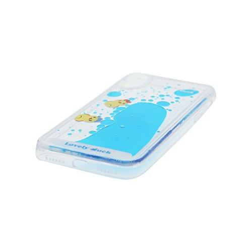 iPhone X Custodia liquida,iPhone X Custodia,Cool Creative Cristallo trasparente liquido traslucido lucido Copertina case cover per iPhone X,anatra Colour 1