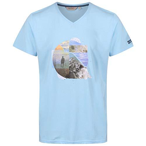 Regatta Herren Calton Coolweave V-Neck Graphic T-Shirt, Powder Blue, XL - V-neck Graphic T-shirt