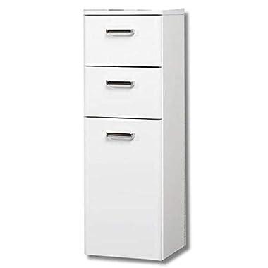 PELIPAL 359 Piolo Highboard, Holzdekor, Weiß Hochglanz, 33,0 x 30,0 x 90,5 cm