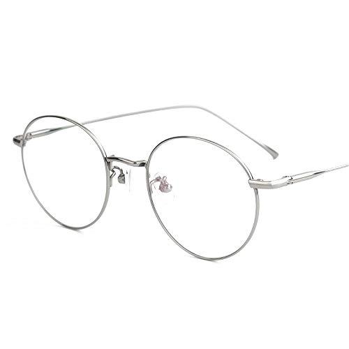 HAIBUHA Brille Retro Ultraleicht Reines Titan Brillengestell Flacher Spiegel Unisex (Farbe : Silber)