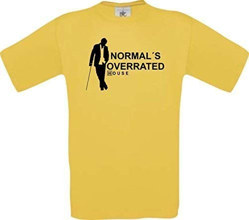 Dr House Normal´s Overrated Kult T-Shirt S-XXL, Gelb, XL
