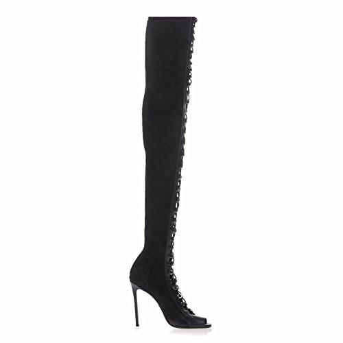 L @ yc Stivali Da Donna Mode Hiver Denim Party & Stiletto Tie Heel / Noir Noir