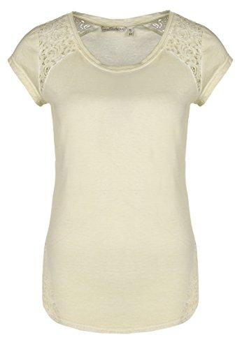 Fresh Made Damen Shirt mit Spitze Einfarbig | Frauen T-Shirt Uni mit Spitzeneinsatz und Rundhals-Ausschnitt Light-beige1 S