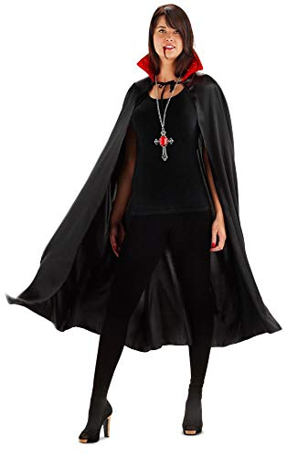 Folat 23553 Vampir Umhang mit Beleuchtung Costume, One Size, Schwarz