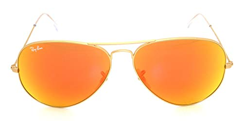 Ray-Ban 3025 Aviator RB 3025 112/69 62mm Matte Gold Frame w/ Orange Mirror Large