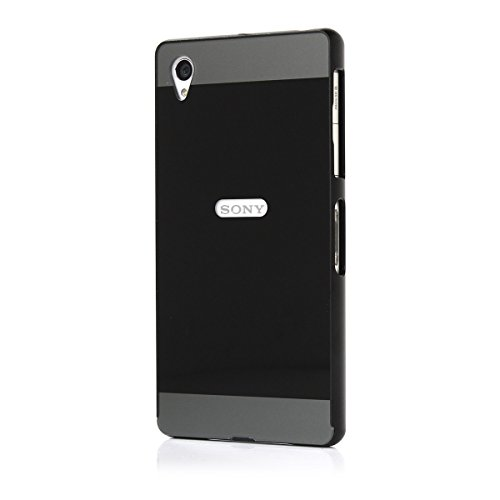 Moonmini® Custodia Per Sony Xperia Z1 Ultra Hybrid Combo Body Armor Metallo Bumper Frame Case Con Hard PC Back Cover Protector Shield Nero